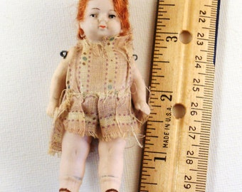 Rare Antique German Red Headed Doll Porcelain Wire Hinged Arms and Legs  Reduced Price