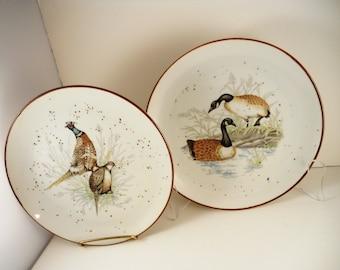 Pair of Decorative Goose and Pheasant Plates