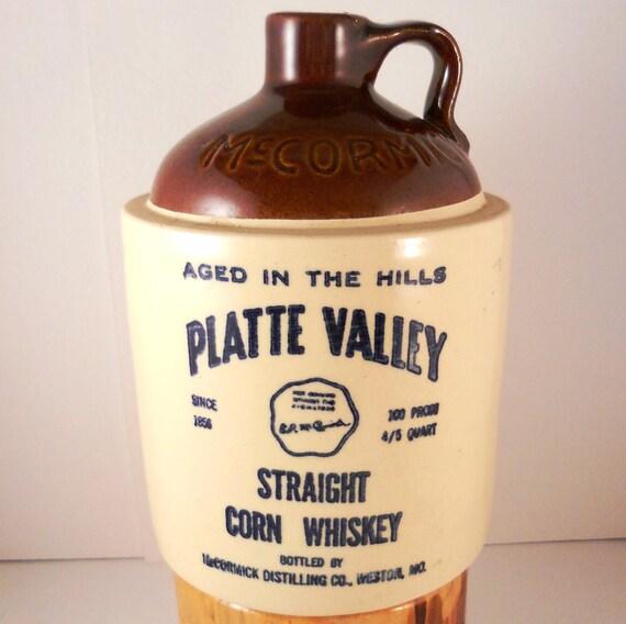 Vintage Primitive Platte Valley Whisky Crockery Jug Mccormick Distilling Made in USA