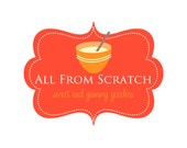 Premade Logo Design for Photographers and Small Crafty Boutiques Orange and Yellow Bakery Frame