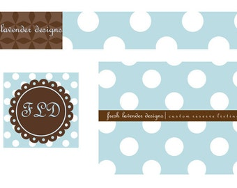 GRAND OPENING SALE Premade Etsy Banner Avatar Set for Small Crafty Boutiques Blue Polka Dot