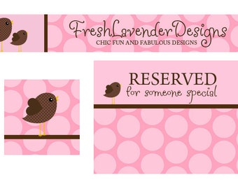 Premade Etsy Banner and Avatar Set for Small Crafty Boutiques Pink Polka Dot Chickadee