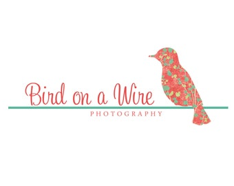 Premade Logo Design for Photographers and Small Crafty Boutiques Floral Bird