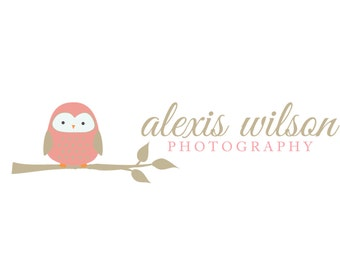 Premade Logo and Watermark for Photographers and Small Crafty Boutiques Pink Owl on Branch