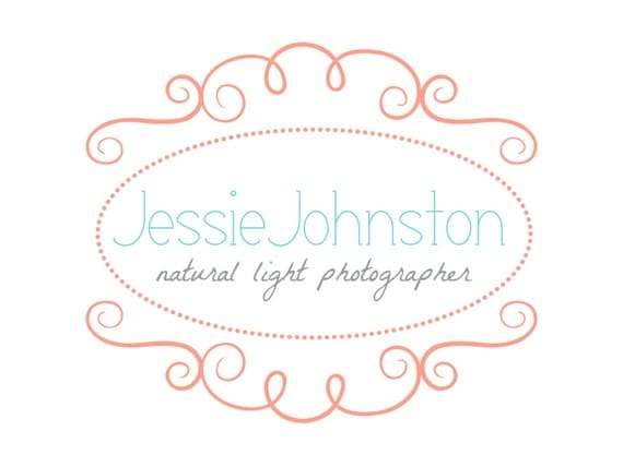 Premade Logo Design for Photographers and Small Crafty Boutiques Swirly Coral Frame