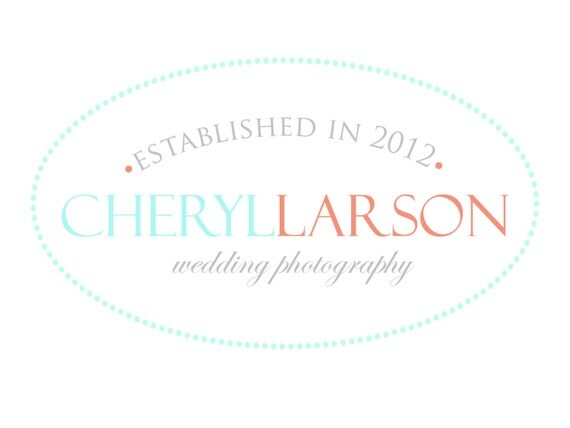 Premade Logo for Photographers and Small Crafty Boutiques Coral and Aqua Dotted Oval