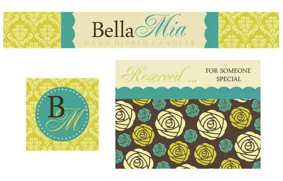 Premade Etsy Banner and Avatar Set for Small Crafty Boutiques Bohemian Damask and Floral