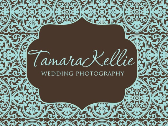 Premade Logo and Watermark for Photographers and Small Crafty Boutiques Aqua and Brown Damask with Frame