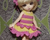 Crochet dress and hat for Bjd Fairyland Pukifee (or similar size)
