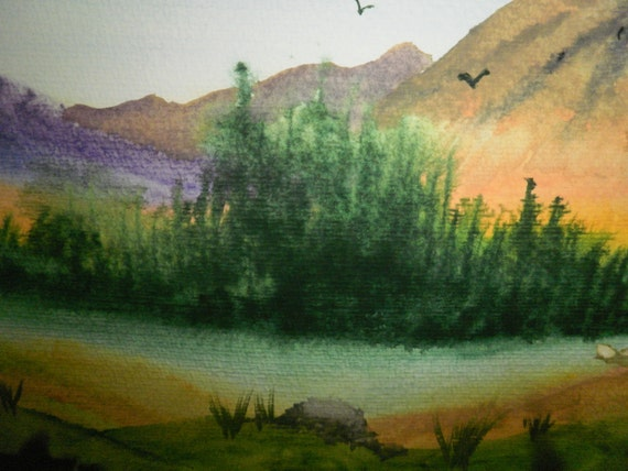 Original watercolour painting depicting Scottish scenery (slight fire/water damage near some edges of work)