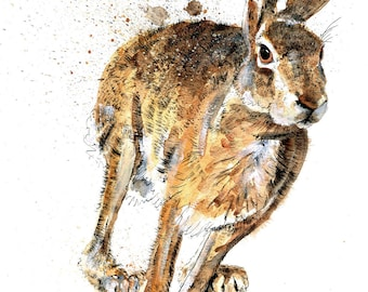Mounted Limited Edition Giclee Print of 'Forest Gump' Hare