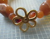 Coral and Gold Vintage Button Bracelet