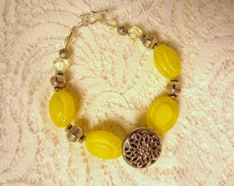 Vintage Bracelet, Lemon Yellow and Silver