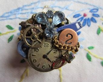 Brooch, Steampunk - Shades of Blue