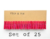 Mini Clothespins - Flamingo / Pink - Set of 25 - Small