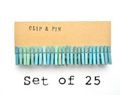 Mini Clothespins - Sea Glass Blue - Set of 25 - Small