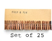 Mini Clothespins - Chestnut / Brown - 25 Small