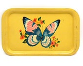 RESERVED FOR LINDA ... Yellow Butterfly Tray, Antique Shabby Chic Toleware
