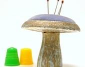 Florenza Mushroom Pincushion, Vintage 1950s Metal & Lavender Velvet Rare Collectible