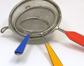 Nesting Kitchen Sifters, Set of 3 Vintage Italian Primary Color Strainers