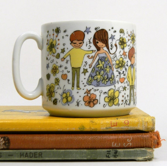 Mod Floral Mug, Vintage 1960s Young Love Coffee Cup