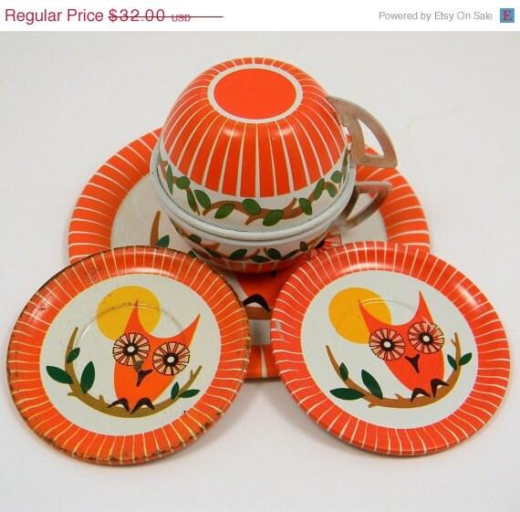 NOW 40% OFF Ohio Art Owl Tea Set, Vintage Tin Toy