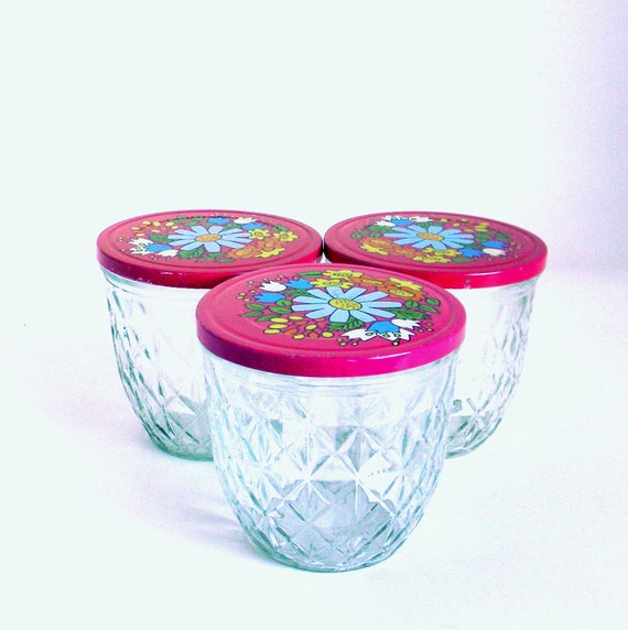 Quilted Ball Jars, Vintage 1970s Magenta Floral Lidded Jelly Jars