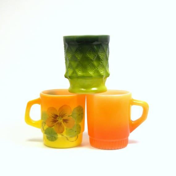 Fire King Mugs, Set of 3 Vintage 1950s Retro Fall Colors