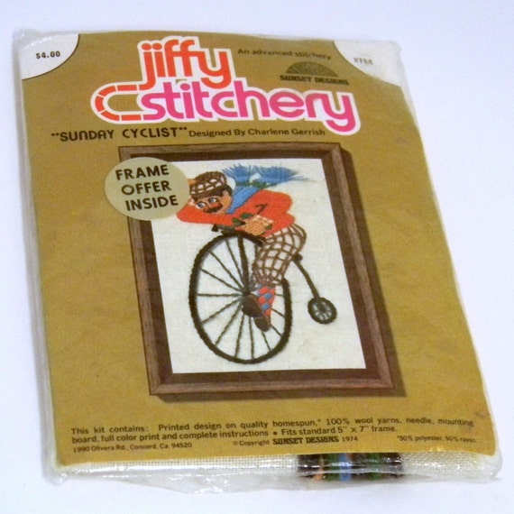 Kitschy Embroidery Kit, Vintage 1970s Mustached Bicyce Rider