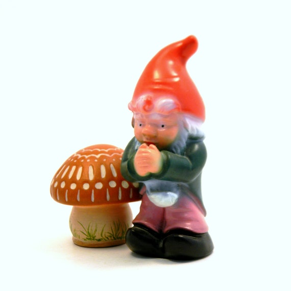 Blow Mold Gnome, Vintage 1960s Plastic Whimsical Kitsch