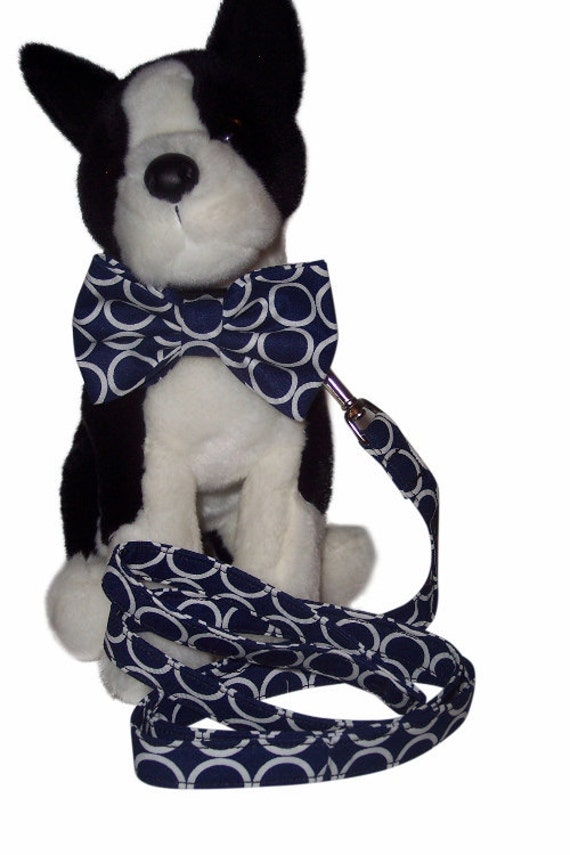 CHOOSE YOUR FABRIC Custom Made collar with bow tie and leash set xs sm med lg xl