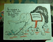 Charming 1920's Birthday Card hand colored and embossed with Elephant and Mouse Unused