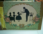 Darling Art deco 1920's-30's  Graduation Card Silhouettes of children Receiving diplomas
