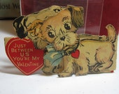 RESERVED Sweet 1930's die cut valentine card male and female dogs