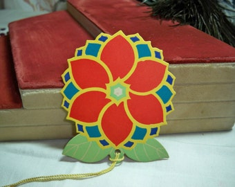 Extremely Colorful Art Deco 1920's-30's  Gibson bridge tally card   stylized  geometric flower