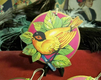 Vintage 1920's Die Cut Hallmark Round Bridge Tally Tallies  Perched Yellow Bird gold gilded