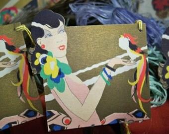Art Deco  die cut Bridge Tally Female with Parrot Very Vampy 1920's unused gold gilded