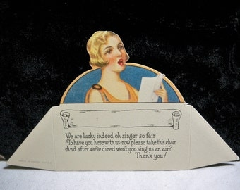 Gorgeous art deco 1920's die cut place card pretty  blonde singing flapper girl cute poem unused
