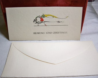 Art deco Christmas card boy carrying platter of food circa 1920's-30's unused with envelope