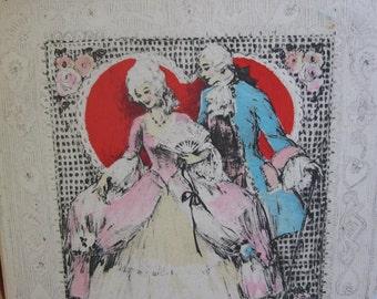 1930's art deco unused Rust Craft hand colored  valentine card with original envelope 18th century dressed couple