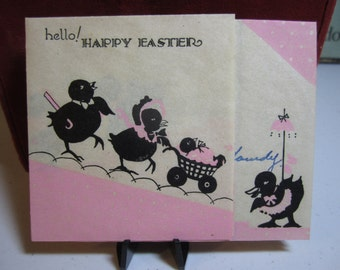 Art deco 1930s  parchment paper easter greeting card with family of easter chicks dressed up pushing stroller