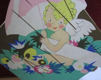 1920's art deco die cut combination bridge tally place card  cupid holding umbrella for wedding shower theme buzza unused cupid