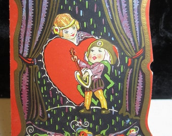 1920's  die cut embossed and  gold gilded valentine card romeo serenading juliet diamond valentines