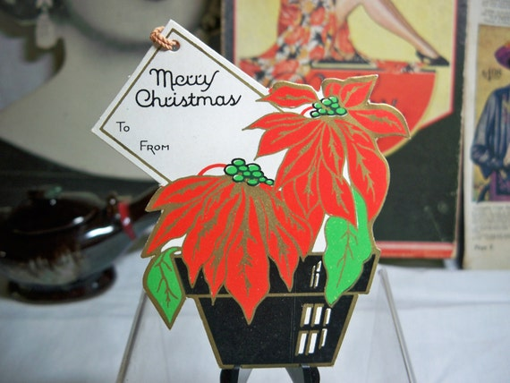 Wonderful Die cut and embossed  Christmas Poinsettia in  a Pot Gift Tag with string  unused 1930's