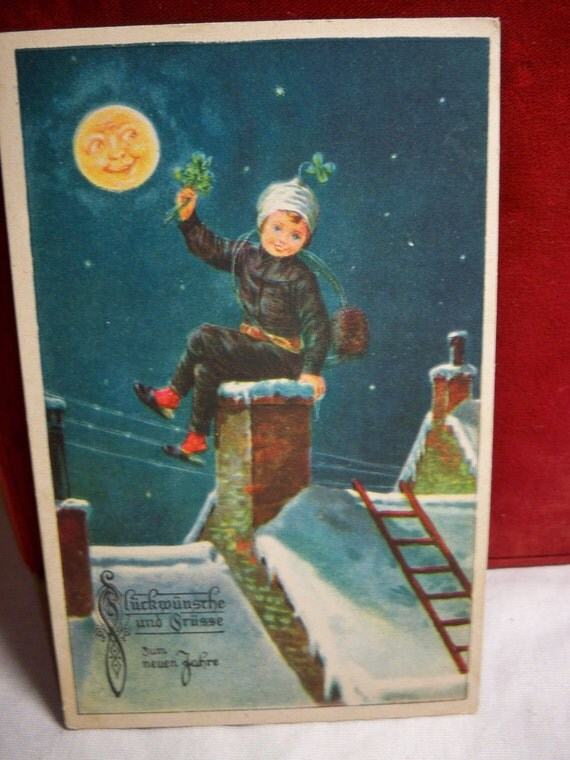 Antique Christmas Card Child on top of chimney with Full moon smiling  Germany 1910's