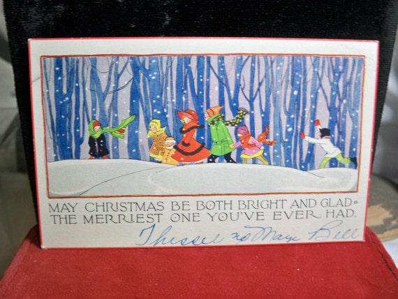 Art Deco winter scene with children christmas card 1930's P.F. Volland