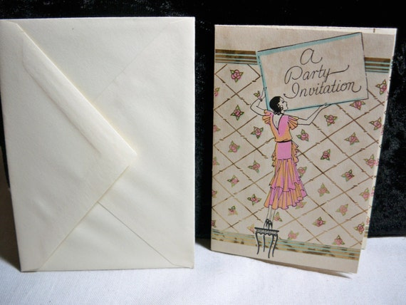 Art deco 1930's Rust Craft party Invitation with great graphics of girl holding up sign unused with envelope