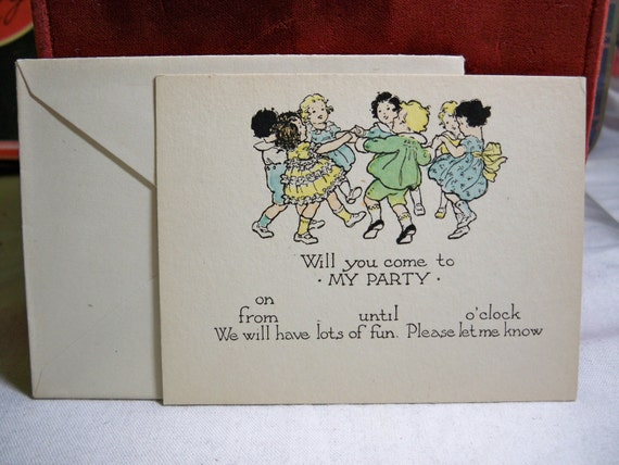Wonderful vintage 1920's -30's children's  party invitation graphics of little kids ring around the posey