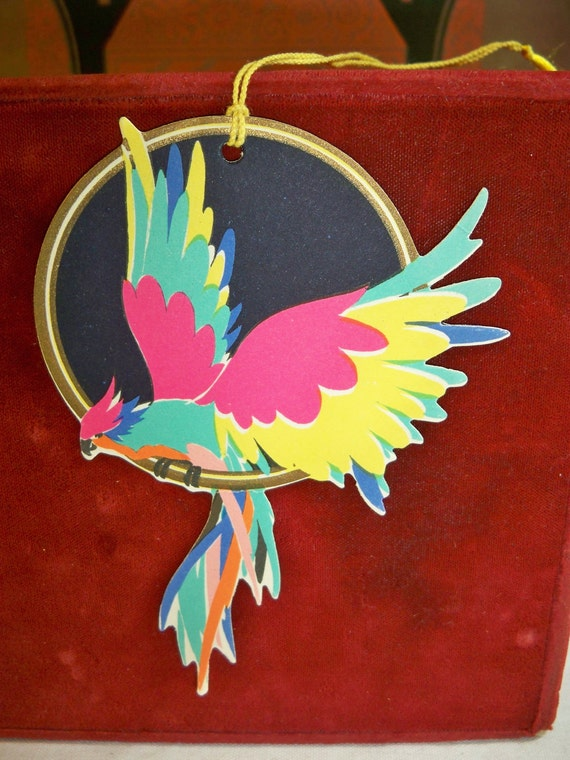 1920's Art Deco Die Cut very colorful parrot bridge tally card unused buzza