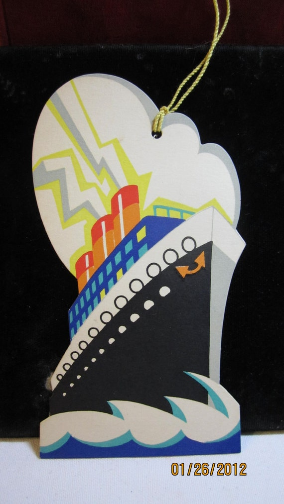 Fantastic 1920's Art Deco Die Cut Ocean liner ship with clouds and lightening bolts Gibson unused